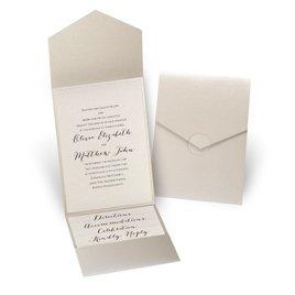 Luxe Elegance - Blush Shimmer - Gold Shimmer Pocket Invitation