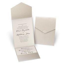 Luxe Elegance - Ecru Shimmer - Gold Shimmer Pocket Invitation