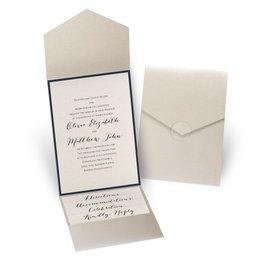 Luxe Elegance - Navy - Gold Shimmer Pocket Invitation