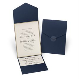 Glitter Elegance - Gold Glitter - Navy Pocket Invitation