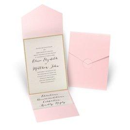 Glitter Elegance - Gold Glitter - Pink Pocket Invitation