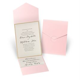 Glitter Elegance - Gold Glitter - Pink Pocket Invitation