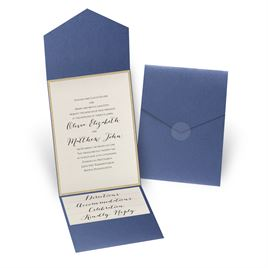 Glitter Elegance - Gold Glitter - Sapphire Shimmer Pocket Invitation