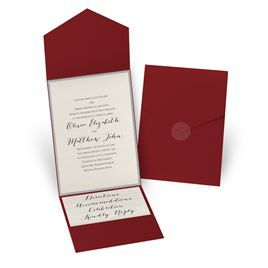 Glitter Elegance - Silver Glitter - Merlot Pocket Invitation
