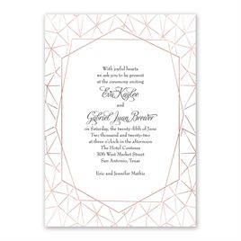 Clean Lines - Rose Gold - Foil Invitation