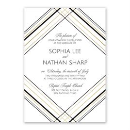 Sharp Lines - Gold - Foil Invitation