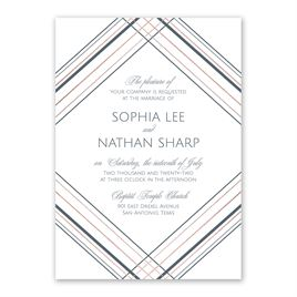 Sharp Lines - Rose Gold - Foil Invitation