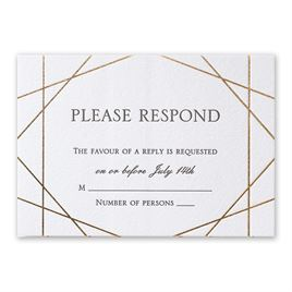 Acute Angles - Gold  - Letterpress and Foil Response Card