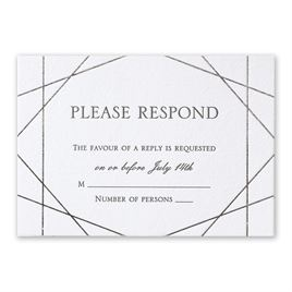 Acute Angles - Silver -  Letterpress and Foil Response Card