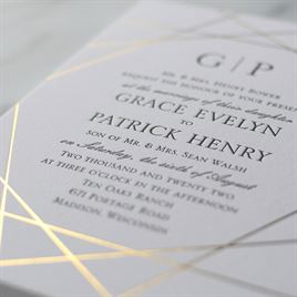 Acute Angles - Gold -Letterpress and Foil Invitation