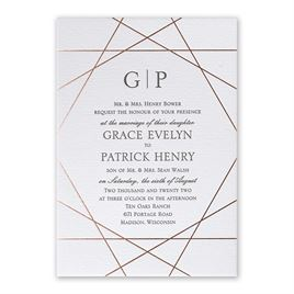 Acute Angles - Rose Gold - Letterpress and Foil Invitation