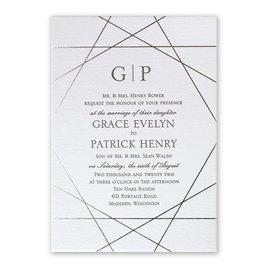 Acute Angles - Silver - Letterpress and Foil Invitation