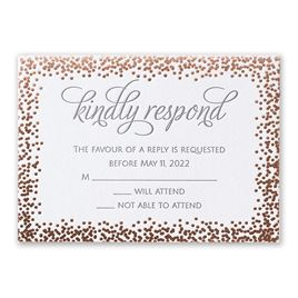 Speckled Elegance - Rose Gold - Letterpress and Foil Response Card