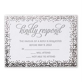 Speckled Elegance - Silver - Letterpress and Foil Response Card