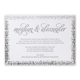 Speckled Elegance - Silver - Letterpress and Foil Invitation