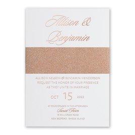 N Glam Wedding Invites Glittering Glamour Rose Gold Foil Invitation