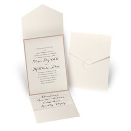 Glitter Elegance - Rose Gold Glitter - Ecru Shimmer Pocket Invitation