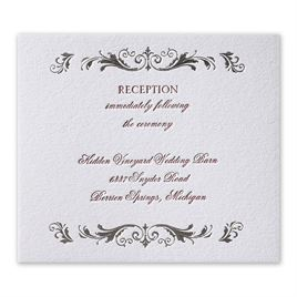 Regal Style - Silver  - Letterpress and Foil Information Card