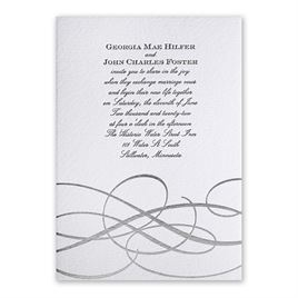 Adagio - Silver - Letterpress and Foil Invitation