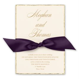 Jeweled Deckle - Eggplant - Invitation