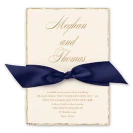 Jeweled Deckle - Navy - Invitation