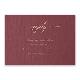 Burgundy Brilliance - Rose Gold - Foil Response Card