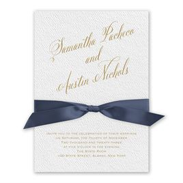Fresh Angle - Steel Blue - White Invitation