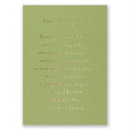 Simply Stunning - Olive - Foil Invitation