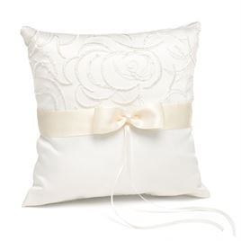 Embroidered Swirls - Ivory Ring Pillow