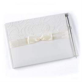 Embroidered Swirls - Ivory Guest Book
