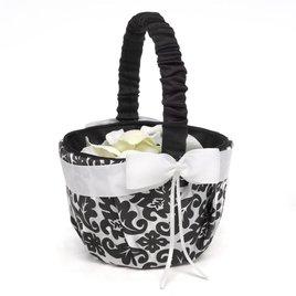 Wedding Flower Girl Baskets: Elegant Black Damask Flower Basket