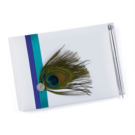 Peacock Feather Guest Book and Pen