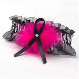 Fuchsia Wild Feathers Wedding Garter
