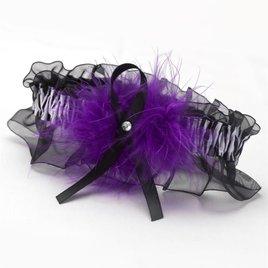 Purple Wild Feathers Wedding Garter