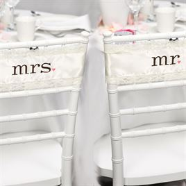 Mr. and Mrs. Satin Chair Sashes
