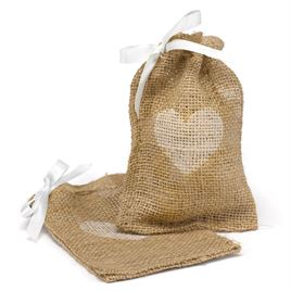 Heart Burlap Favor Bags