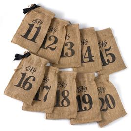 Burlap Table Number Bags (11-20)