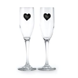 Mr. and Mr. Heart Toasting Flutes