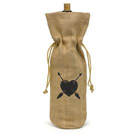Heart and Arrow Burlap Wine Bag