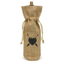 Heart and Arrow Burlap Wine Bag