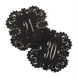 Black Laser Cut Table Number Cards 21 30