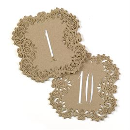 Kraft Laser Cut Table Number Cards 1 10