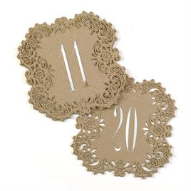 Kraft Laser Cut Table Number Cards 11 20