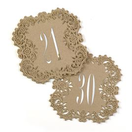 Kraft Laser Cut Table Number Cards 21 30