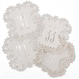 White Shimmer Laser Cut Table Number Cards 31 40