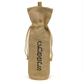 Cheers Burlap Wine Bag