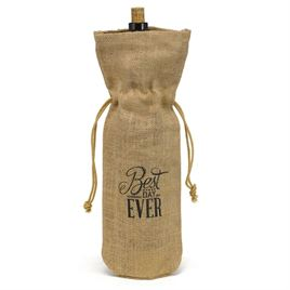 Best Day Ever Burlap Wine Bag