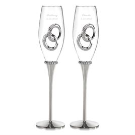Two Rings Toasting Flutes