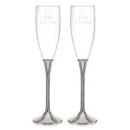 Wedding Couple Gifts: Zippered Elegance Toasting Flutes
