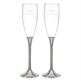 Zippered Elegance Toasting Flutes